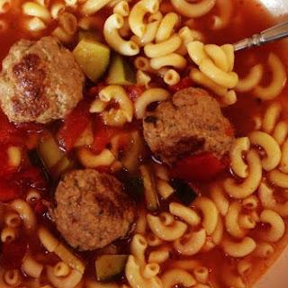 Italian Zucchini, Tomato & Turkey Meatball Soup.