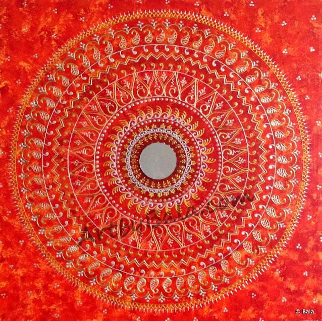 Henna style textured acrylic mandala painting