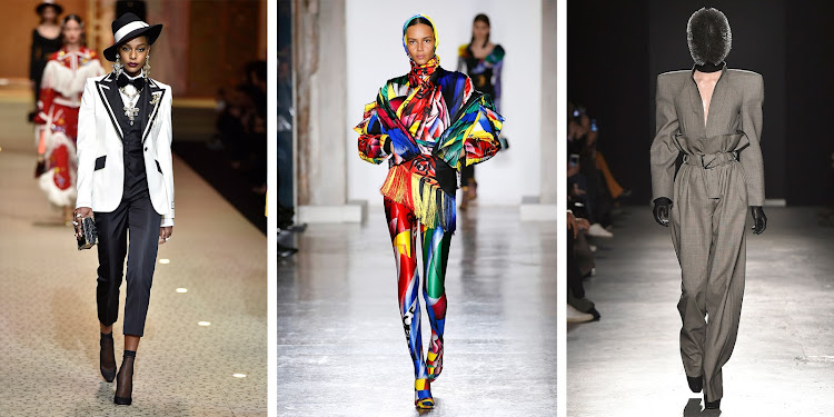 FEMINISM: Dolce&Gabbana (left); Versace (middle); Gareth Pugh (right)