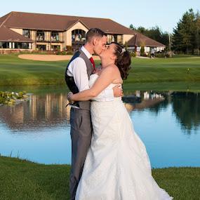 True Love by Matt Stevens - Wedding Bride & Groom ( love, kiss, weddings, lakes, wedding dress, bride, groom )