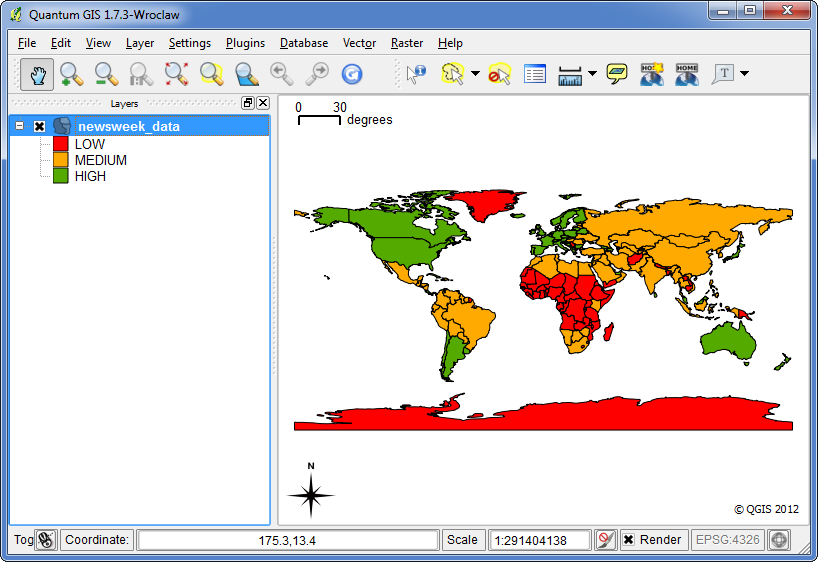 Quantum gis qgis tutorials tutorial styling vector data in qgis this map definitely conveys a lot more useful map than the previous two attempts there are clearly marked class names and colors to represent our gumiabroncs Gallery