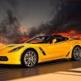 Yellow 'Vette by JEFFREY LORBER - Transportation Automobiles ( jeffrey lorber, rust 'n chrome, car, yellow car, yellow, lorberphoto, corvette )