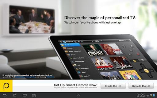 Peel Smart Remote (Galaxy Tab) screenshot 1