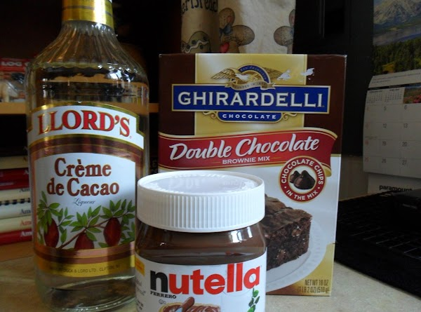 Mix together: Brownie mix, egg, oil, and creme de cacao.Add chopped walnuts if desired.
