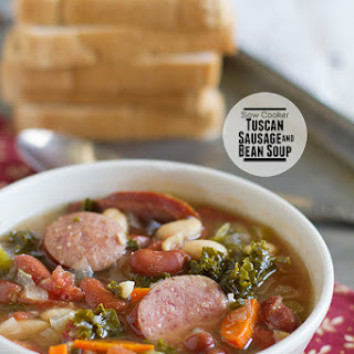 Slow Cooker Tuscan Sausage and Bean Soup.