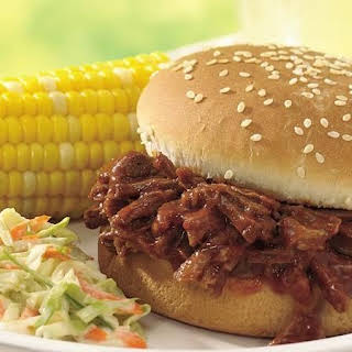Slow-Cooker Beef and Pork Barbecue Sandwiches.