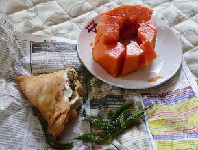 Photo: Samosa Papaya and salted green chillie Mumbai