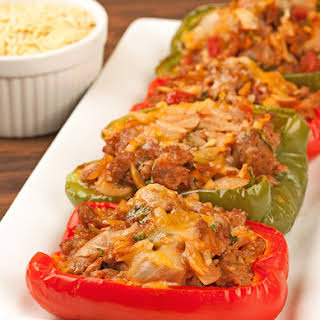 Turkey Sausage and Orzo Stuffed Peppers.
