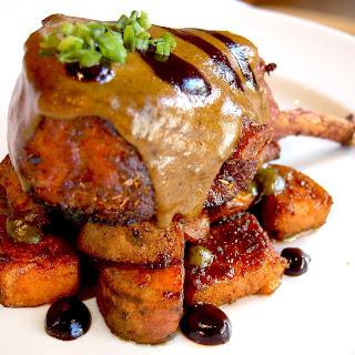 Double Cut Pork Chops with Tamarind Glaze, Green Mole Sauce and Caramelized Sweet Potatoes