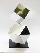Photo: 18 REFLECTIONS - 19H X 22W X 9D Polished Stainless Steel, Painted Mild Steel, Side 2 View