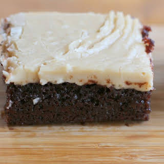 Buttermilk Brownies with Bourbon Caramel Frosting.