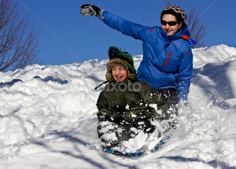 Sledding Siblings by Olga Charny - Sports & Fitness Other Sports ( down hill, winter, pwcwintersports, sledding, siblings )