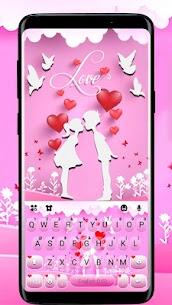 Pink Love Kiss Keyboard Theme 1