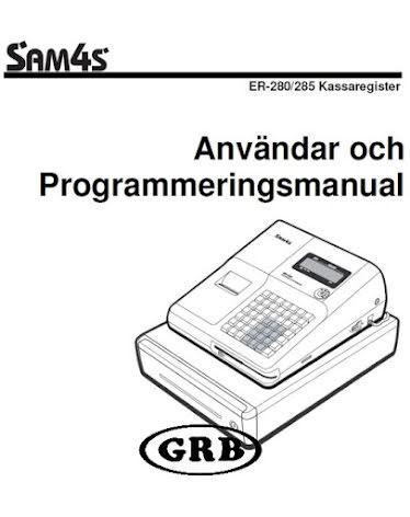 Manual Sam4s ER280 och 285M