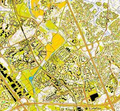 Photo: Helsinki, Kannelmäki and surroundings; part of a 3 km x 3 km map created with Karttapullautin (http://routegadget.net/karttapullautin/) from the open data of the National Land Survey (of Finland www.maanmittauslaitos.fi)