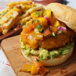 Chorizo Burger with Guacamole & Mango Salsa