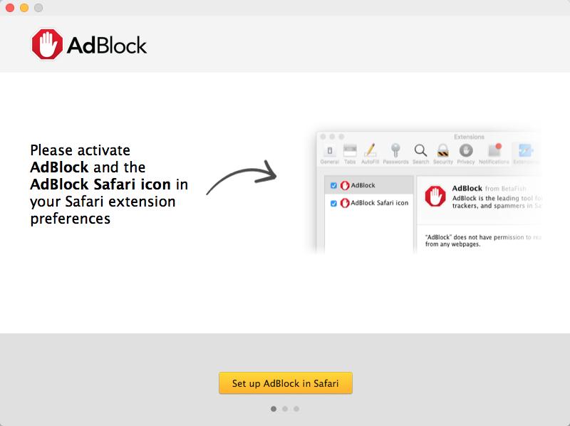 First setup screen in the AdBlock for Safari app