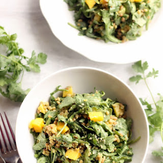 Mango, Wheat Berry, and Arugula Salad with Creamy Cilantro Lime Dressing