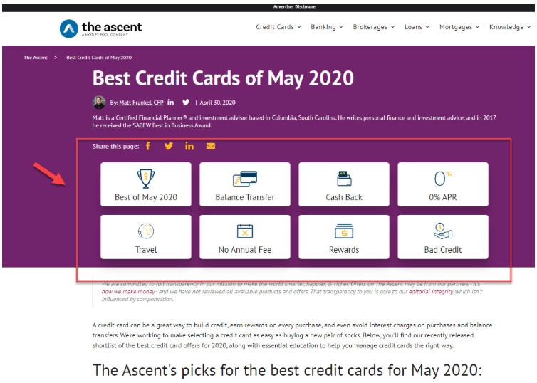 The Ascent Credit Card Page