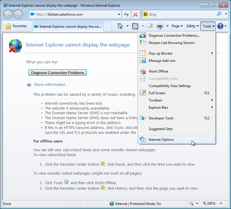 Enable TLS 1.1 and TLS 1.2 in the Internet Options of Internet Explorer 8