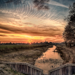 canal at sunset, by Egon Zitter - Landscapes Sunsets & Sunrises ( sunset, dam, lock, evening, canal )