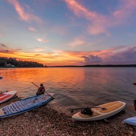 Paddleboarding by Michael Buffington - Sports & Fitness Watersports ( watersport, docking, sunset, paddleboards, lake )