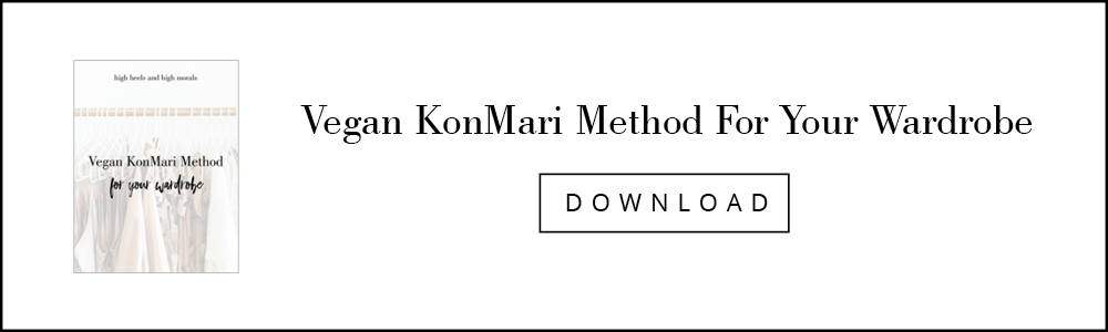 Graphic encouraging download of vegan konmari method for your wardrobe