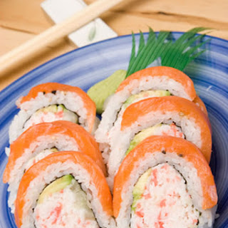 Salmon Topped Crab and Avocado Sushi.