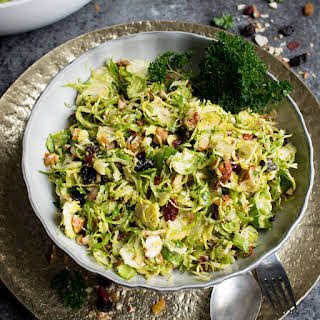 Raw Brussels Sprouts Salad with Dried Fruit.