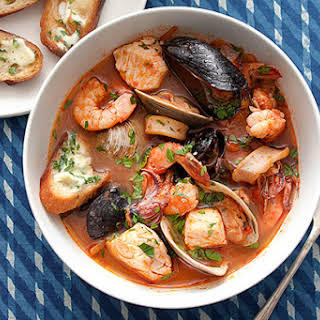 Cioppino Seafood Stew with Gremolata Toasts.