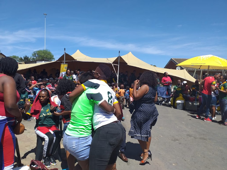 Scenes outside the tavern in KwaGqalane, just outside Port Elizabeth, on Saturday morning, as revellers awaited the kickoff of the 2019 Rugby World Cup final between the Springboks and England. The tavern was where Bok captain Siya Kolisi watched the 2007 World Cup final.
