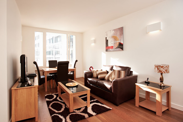 Living area at London City Apartments