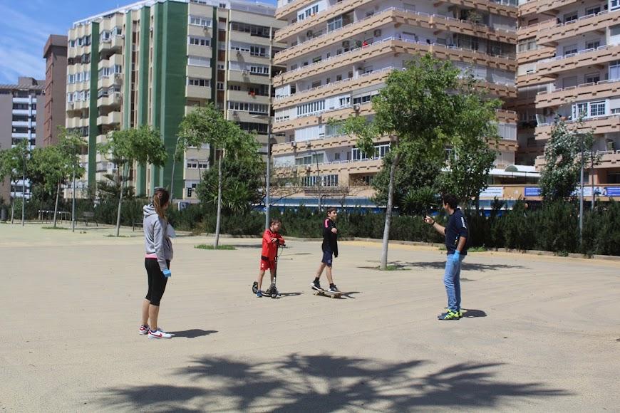 Jugando en el Parque de la Estación.