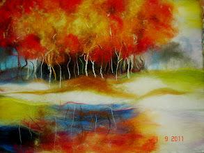 Photo: 121, Нетронина Наталья, Осень ЗолотоГлавая , шерсть, акрил, вискоза(шерстяная акварель), 40х30см, 1000 грн.