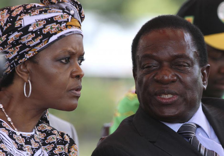 Grace Mugabe, left, talks to Zimbabwean President Emmerson Mnangagwa. File picture: REUTERS
