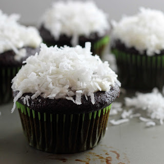 One Bowl Chocolate Chai Cupcakes with Coconut Cream Cheese Frosting.
