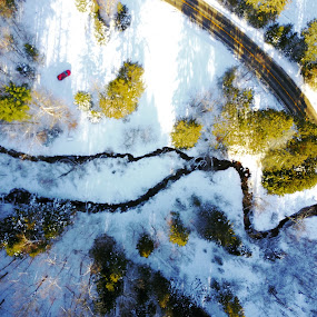 Winter seen From above by Olivier Grau - Landscapes Weather ( drone, winter, creek, snow, dji, aerial, road, red car,  )
