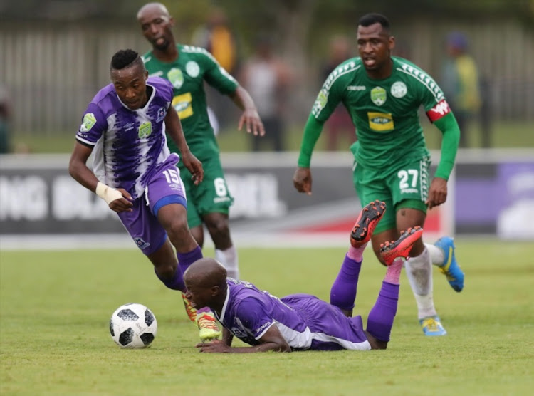 Siphesihle Ndlovu of Maritzburg United is fouled during the Nedbank Cup, Quarter Final match between Maritzburg United and Bloemfontein Celtic at Harry Gwala Stadium on March 31, 2018 in Pietermaritzburg, South Africa.