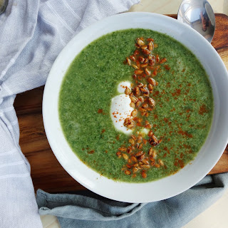 Broccoli Soup with Spicy Sunflower Seeds