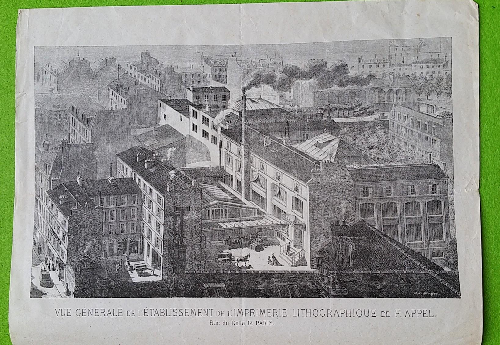 Ansicht der Lithographischen Druckerei François Appel - Rue du Delta, 12 - Paris