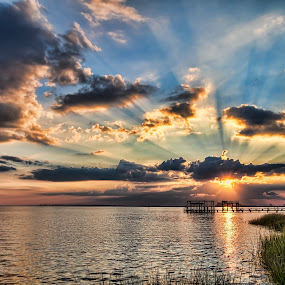 Beautiful Rays by Don Young - Landscapes Sunsets & Sunrises ( waterscape, ray of light, sunsets, clouds, water,  )