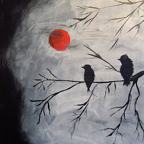 Under a Blood Red Moon by Anita Elder - Painting All Painting ( red, eerie, moon, tree, birds )