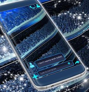 Blue Metallic Theme For SMS - náhled