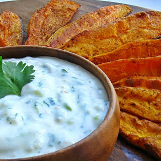 Roasted Sweet Potato Wedges & Dipping Sauce.