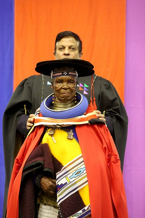 Esther Mahlangu receives her doctorate in visual and performing arts at the Durban University of Technology's Spring graduation on September 7 2018