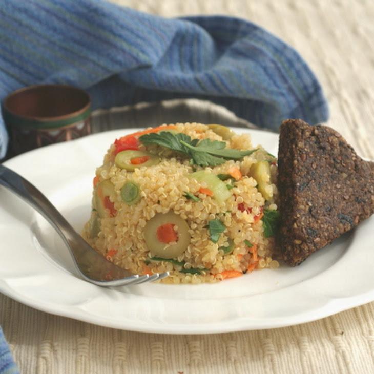 Quinoa-Olive Salad with Black Olive Shortbread Recipe