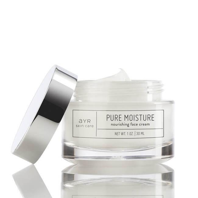 An Ayr Skin Care jar of white face cream.