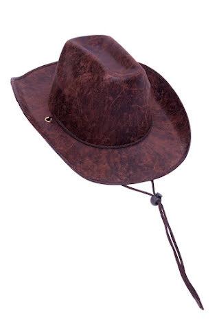 Cowboyhatt, brun läderimitation