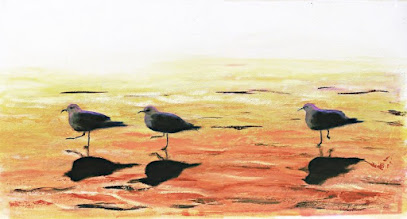 Photo: SEAGULLS AT SUNRISE - acrylic/oil on paper -$1300 ... Emerald Isle, North Carolina, matted & framed