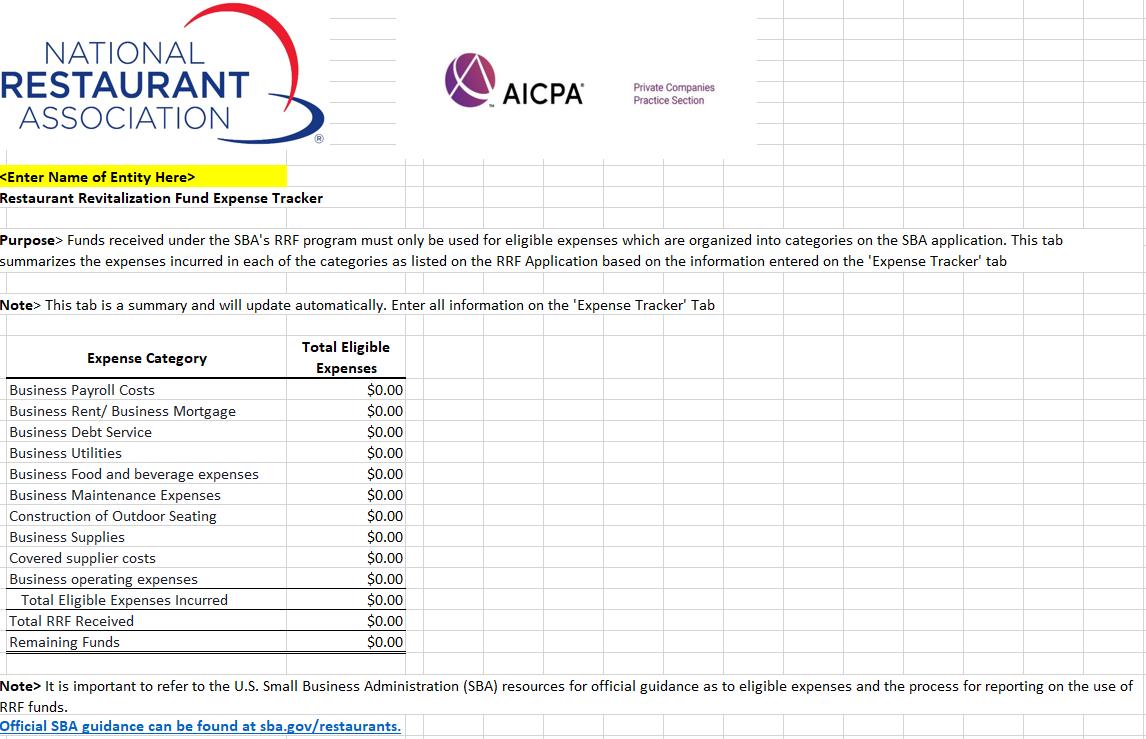 National Restaurant Association Expense Tracker Sheet